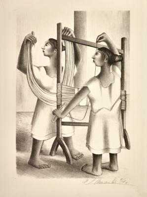 Francisco Dosamantes, Mayan Women Weaving, 1946, lithograph, Dallas Museum of Art, gift of Pan American Round Table #1, 1947.23