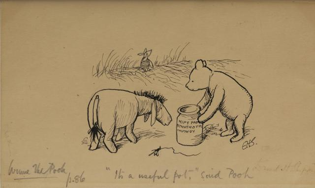 Ernest Howard Shepard, Pooh from Winnie-the-Pooh, date unknown, pen and ink on paper, gift of Leon A. Harris, Jr. in memory of Leon A. Harris, Sr., 1959.98