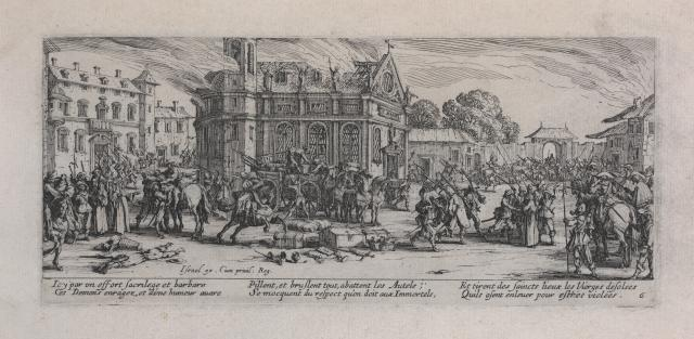 Jacques Callot, Pillage of a Farm and Devastation of a Monastery from The Miseries and Misfortunes of War, 1633, etching on paper, Foundation for the Arts Collection, gift of Mr. and Mrs. Alfred L. Bromberg, 1963.159.6.FA