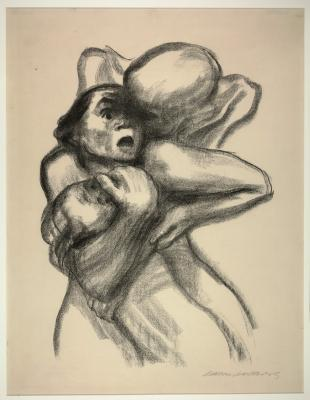 Käthe Kollwitz, Death Seizing a Mother, 1934, lithograph, Dallas Museum of Art, purchased with grant from The Assemblage, 1984.60