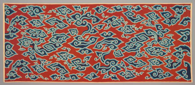 Wraparound skirt (kain panjang): cloud design (megamendung), c. 1910, Indonesia: Java, Cirebon, handdrawn batik on commercially woven cotton, Dallas Museum of Art, Textile Purchase Fund, 1991.58