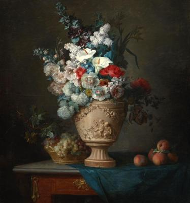 Anne Vallayer-Coster, Bouquet of Flowers in a Terracotta Vase with Peaches and Grapes, 1776, oil on canvas, Dallas Museum of Art, Foundation for the Arts Collection, Mrs. John B. O'Hara Fund and gift of Michael L. Rosenberg, 1998.51.FA