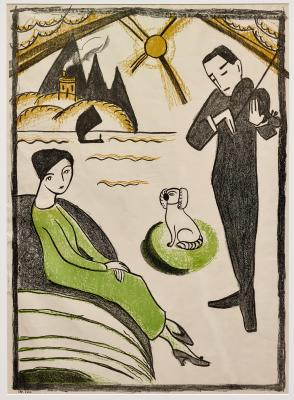 Gabriele Münter, Woman and Man with Dog, 1918, lithograph on velin paper, Dallas Museum of Art, bequest of Dorace M. Fichtenbaum, 2015.48.79