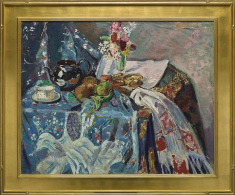 Alfred Henry Maurer, Tabletop Still Life, 1913, oil on canvas, The Collection of Eleanor and C. Thomas May, Jr.