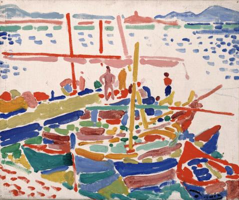André Derain, Fishing Boats at L'Estaque, 1906, oil on canvas, Dallas Museum of Art, The Eugene and Margaret McDermott Art Fund, Inc.