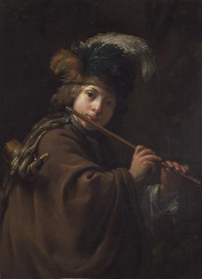 Attributed to Dirck van Santvoort, Dutch, 1610 - 1680, A Boy Playing the Flute, oil on canvas, The Leiden Collection, Inv# DS-100 28.2015.8 © The Leiden Collection, New York