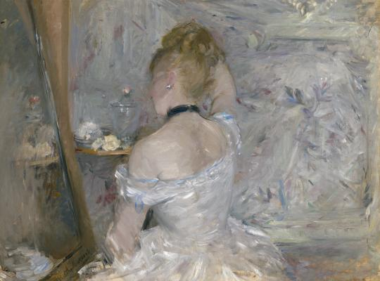Berthe Morisot, Woman at Her Toilette, 1875–1880, oil on canvas, The Art Institute of Chicago, Inv. no. 1924.127, Photo courtesy The Art Institute of Chicago / Art Resource, NY  [NOTE: The Barnes Foundation and Dallas Museum of Art presentations only]