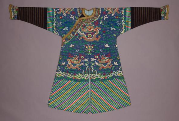 Blue Five-Clawed Dragon Robe, late 19th century, silk, metal-wrapped yarn, Dallas Museum of Art, anonymous gift in honor of Joe B. Blakey, 1981.6