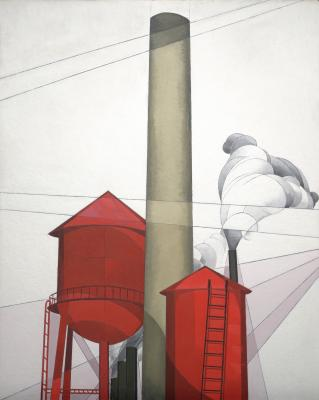 Charles Demuth, Buildings, 1930–1931, tempera and plumbago on composition board, Dallas Museum of Art, Dallas Art Association Purchase Fund, Deaccession Funds/City of Dallas (by exchange) in honor of Dr. Steven A. Nash, 1988.21