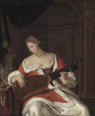 Eglon van der Neer, Dutch, 1635 - 1703, A Lady Playing a Lute in an Interior, 1675, oil on panel, The Leiden Collection, Inv# EN-100 28.2015.5 © The Leiden Collection, New York