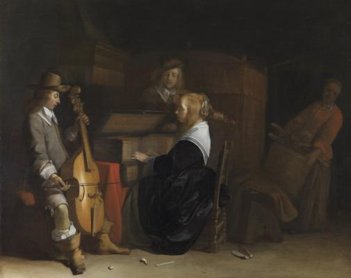 Gerard ter Borch, Dutch, 1617 - 1681, A Musical Company, c. 1642-1644, oil on panel, The Leiden Collection, Inv# GB-105 28.2015.3 © The Leiden Collection, New York