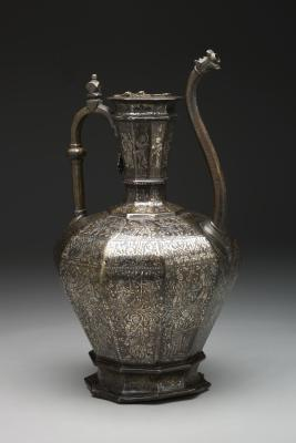 "The ""Homberg Ewer"", Syria, 1242, brass inlaid with silver, The Keir Collection of Islamic Art on loan to the Dallas Museum of Art, K.1.2014.82"