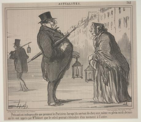 Honoré Daumier, Current Events, No. 385: Ever since Mr. Babinet had announced that the sun might disappear from one moment to the next, the Parisians are taking all necessary precautions, even at mid-day, 1857, Published in: Paris, Île-de-France, France, Europe, lithograph, Dallas Museum of Art, gift of Mrs. Robert A. Beyers 1962.63