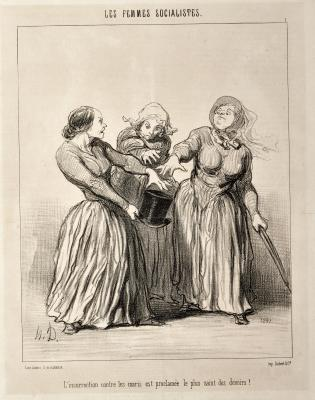 Honoré Daumier, The Socialist Women, No. 1: Insurrection against Husbands is Proclaimed as being the First and Holiest Duty of Life!, 1849, lithograph on paper, Dallas Museum of Art, gift of Patricia M. Patterson 2015.51.2
