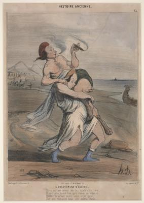Honoré Daumier, Ancient History, No. 13: The Abduction of Helen, 1842, handcolored lithograph, Dallas Museum of Art, gift of Michael J. Crowe 1985.175