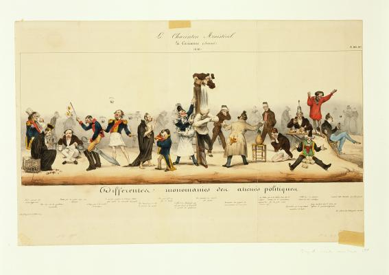Honoré Daumier, The Ministerial Madhouse: Different obsessions of deranged politicians, 1832, hand-colored lithograph, Dallas Museum of Art, gift of Mr. and Mrs. Alfred L. Bromberg 1956.77