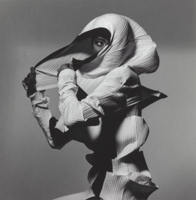 Irving Penn, Issey Miyake Fashion: White and Black, New York, 1990, , printed 1992, Gelatin silver print, Smithsonian American Art Museum, Gift of The Irving Penn Foundation. Copyright © The Irving Penn Foundation