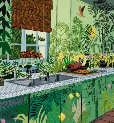 Jonas Wood, Jungle Kitchen, 2017, oil and acrylic on canvas, The Broad Art Foundation, Courtesy the artist and David Kordansky Gallery, Los Angeles, CA, Photographer credit: Brian Forrest