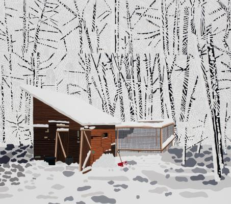 Jonas Wood, Snowscape with Barn, 2017, oil and acrylic on canvas, Dallas Museum of Art, TWO x TWO for AIDS and Art Fund, Courtesy the artist and David Kordansky Gallery, Los Angeles, CA, Photographer credit: Brian Forrest