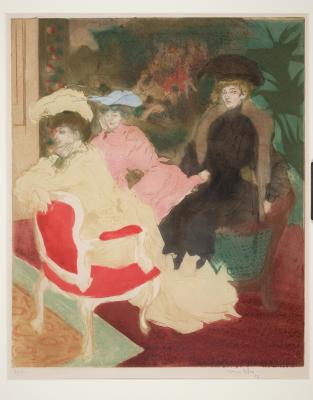 Jacques Villon, Comedie de Societe, Paris, 1903, etching, color aquatint, Dallas Museum of Art, Junior League of Dallas Purchase Fund 1954.4