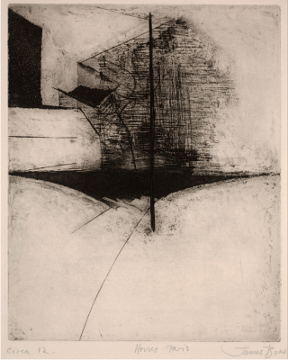 James Burr, Houses—Paris, n.d., Etching, Dallas Museum of Art, gift of Mr. and Mrs. Alfred L. Bromberg, 1956.22
