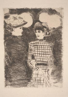 Jean Louis Forain, To Bullier's (À Bullier), c. 1880-1890, etching, Dallas Museum of Art, Foundation for the Arts, The Alfred and Juanita Bromberg Collection, bequest of Juanita K. Bromberg 2000.224.FA