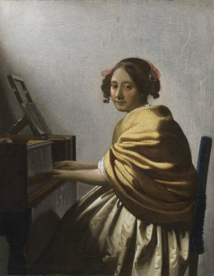 Johannes Vermeer, Dutch, 1632-1675, Young Woman Seated at a Virginal, c. 1670-1672, oil on canvas, The Leiden Collection, Inv# JVe-100 28.2015.1 © The Leiden Collection, New York