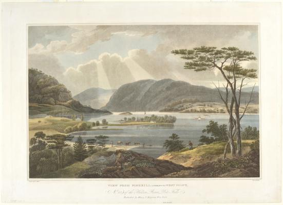 John Hill, after William Guy Wall, View from Fishkill Looking to West Point, 1821-25, hand-colored aquatint and engraving, National Gallery of Art, Donald and Nancy deLaski Fund