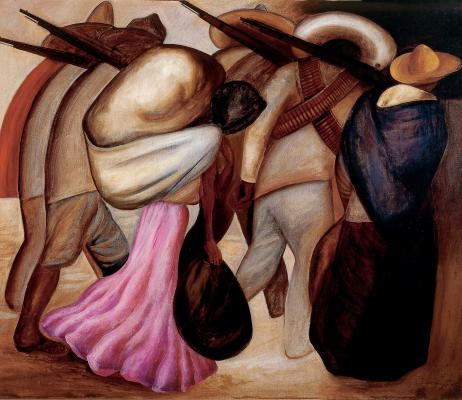 "José Clemente Orozco, The ""Soldaderas"" (Las soldaderas), 1926, oil on canvas, Mexico, INBA, collection Museo de Arte Moderno © 2017 Artists Rights Society (ARS), New York / SOMAAP, Mexico City; Diego Rivera, Juchitán River (Río Juchitán), 1953–1955, oil on canvas on wood, Mexico, INBA, Museo Nacional de Arte  © 2017 Banco de México Diego Rivera Frida Kahlo Museums Trust, Mexico, D.F. / Artists Rights Society (ARS), New York"