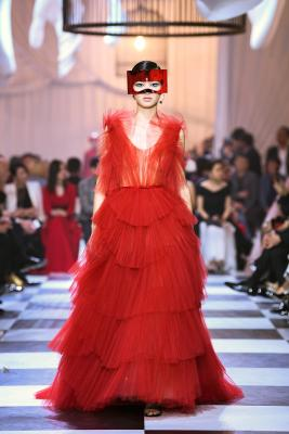 "Maria Grazia Chiuri for Christian Dior. Haute Couture Spring-Summer 2018. ""Dior Red"" ball gown in tiered tulle fans, after the design Francis Poulenc"