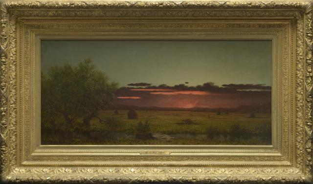 Martin Johnson Heade, Jersey Meadows at Sunset, c. 1866–1876, oil on canvas, The May Children's Trust