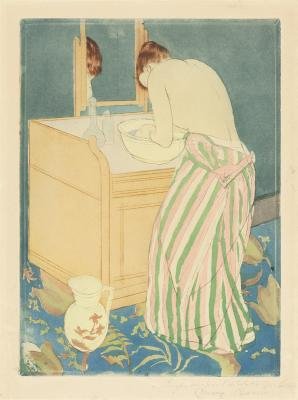 Mary Cassatt, Woman Bathing, 1890-91, drypoint and aquatint, National Gallery of Art, Gift of Mrs. Lessing J. Rosenwald