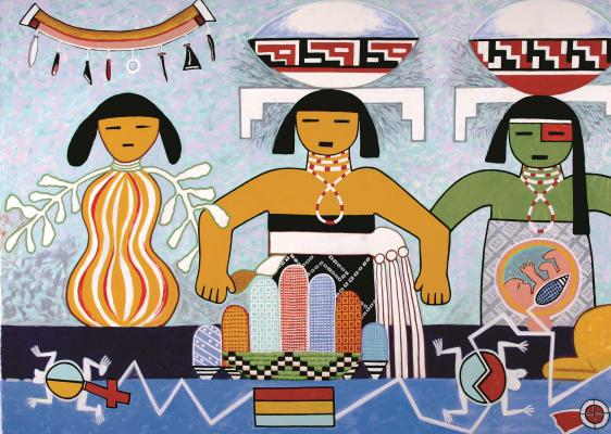 Michael Kabotie and Delbridge Honanie, Journey of the Human Spirit – Middle Place: The Rebirth (Panel 3), 2001, Acrylic on canvas, Courtesy of the Museum of Northern Arizona © Gene Balzer