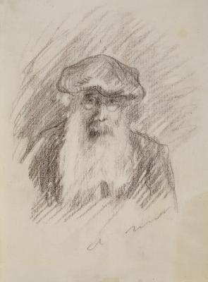 Pierre-Auguste Renoir, Portrait of Camille Pissarro, c. 1893–1894, black charcoal on wove paper, Dallas Museum of Art, The Wendy and Emery Reves Collection 1985.R.63