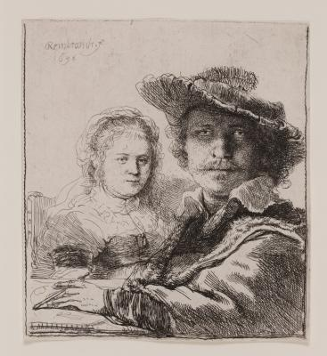 Rembrandt van Rijn, Self-Portrait with Saskia, 1636, etching, Dallas Museum of Art, gift of Calvin J. Holmes in memory of Etta Marian Webb 1967.1.1