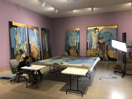 Conservation treatment in progress of the seven murals