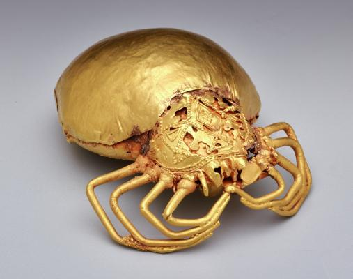 Sword ornament in the form of a spider, Asante peoples, Ghana, Africa, Late 19th century, gold-copper-silver alloy, Dallas Museum of Art, McDermott African Art Acquisition Fund 2014.26.1