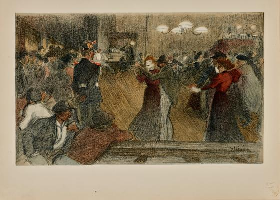 Théophile-Alexandre Steinlen, Dance on the Outskirts of Town (Bal de barrière), 1898, lithograph, Dallas Museum of Art, gift of Henry H. Hawley 2008.95.3