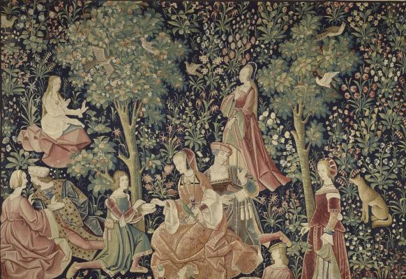 The Seigniorial Life: Chivalry (Gallantry), southern Netherlands, c. 1520, wool and silk tapestry, Musée national du Moyen Âge – Thermes de Cluny, Cl.2179 © RMN-Grand Palais / Art Resource, NY Photo: Franck Raux