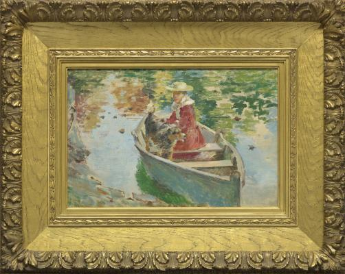 Theodore Robinson, Miss Motes and Her Dog Shep in a Boat, 1893, oil on canvas, The Collection of Eleanor and C. Thomas May, Jr.
