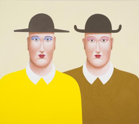 Nicolas Party, Two Men with Hats, 2016, pastel on canvas, courtesy of the artist and The Modern Institute/Toby Webster, Ltd., Glasgow, © Nicolas Party
