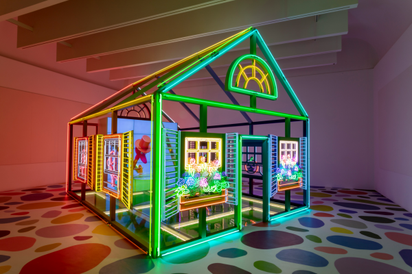 Alex Da Corte, Rubber Pencil Devil, 2018, glass, aluminum, vinyl, velvet, neon, Plexiglas, folding chairs, monitors, high res digital video, color, sound, Dallas Museum of Art, TWO x TWO for AIDS and Art Fund, 2019.59. Photo by Tom Little. Courtesy of the artist and Karma, New York.
