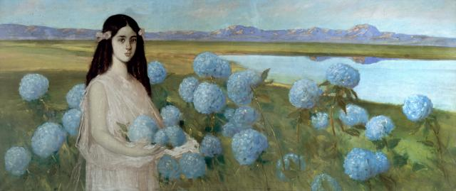 Alfredo Ramos Martínez, Landscape with a Girl and Hydrangeas, c. 1916, pastel on paper, Museo Nacional de Arte. ©D.R. Museo Nacional de Arte/ Instituto Nacional de Bellas Artes y Literatura 2020 and The Alfredo Ramos Martínez Research Project, reproduced by permission