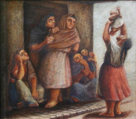 Celia Calderón, The Family, c. 1948, oil on wood, Colección Andrés Blaisten, México