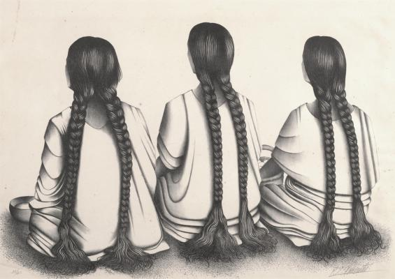 Francisco Dosamantes, Three Women with Braids, n.d., lithograph, Dallas Museum of Art, Dallas Art Association Purchase, 1951.88. Image courtesy Dallas Museum of Art