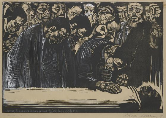 Käthe Kollwitz, Memorial Sheet of Karl Liebknecht, 1919–20, woodcut heightened with white and black ink on paper, Dallas Museum of Art, gift of Mrs. A. E. Zonne, 1942.109