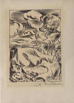 Ludwig Meidner, Untitled (two figures), from the book September Scream: Hymns, Prayers, Blasphemies, plate 51, published 1920, lithograph on paper, Dallas Museum of Art, gift of Dr. Alessandra Comini in honor of Peter Balis, 2019.48.28