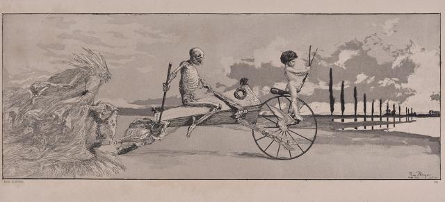 Max Klinger, Cupid, Death and the Beyond, from the portfolio Intermezzos, Opus IV, plate XII, printed 1881, etching and aquatint with chine collé on paper, Dallas Museum of Art, gift of Dr. Alessandra Comini in honor of Adriana Comini, 2019.48.17