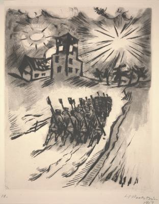 Max Pechstein, Somme 6, from the portfolio Somme 1916, printed 1918, etching on paper, Dallas Museum of Art, gift of Henry H. Hawley III, 1958.31