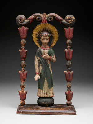 Attributed to José Rafael Aragón, Saint Rosalia of Palermo, early 19th–mid 19th century, carved wood, gesso, paint, hide, cloth, Dallas Museum of Art, gift of Mr. and Mrs. Stanley Marcus, 1961.52